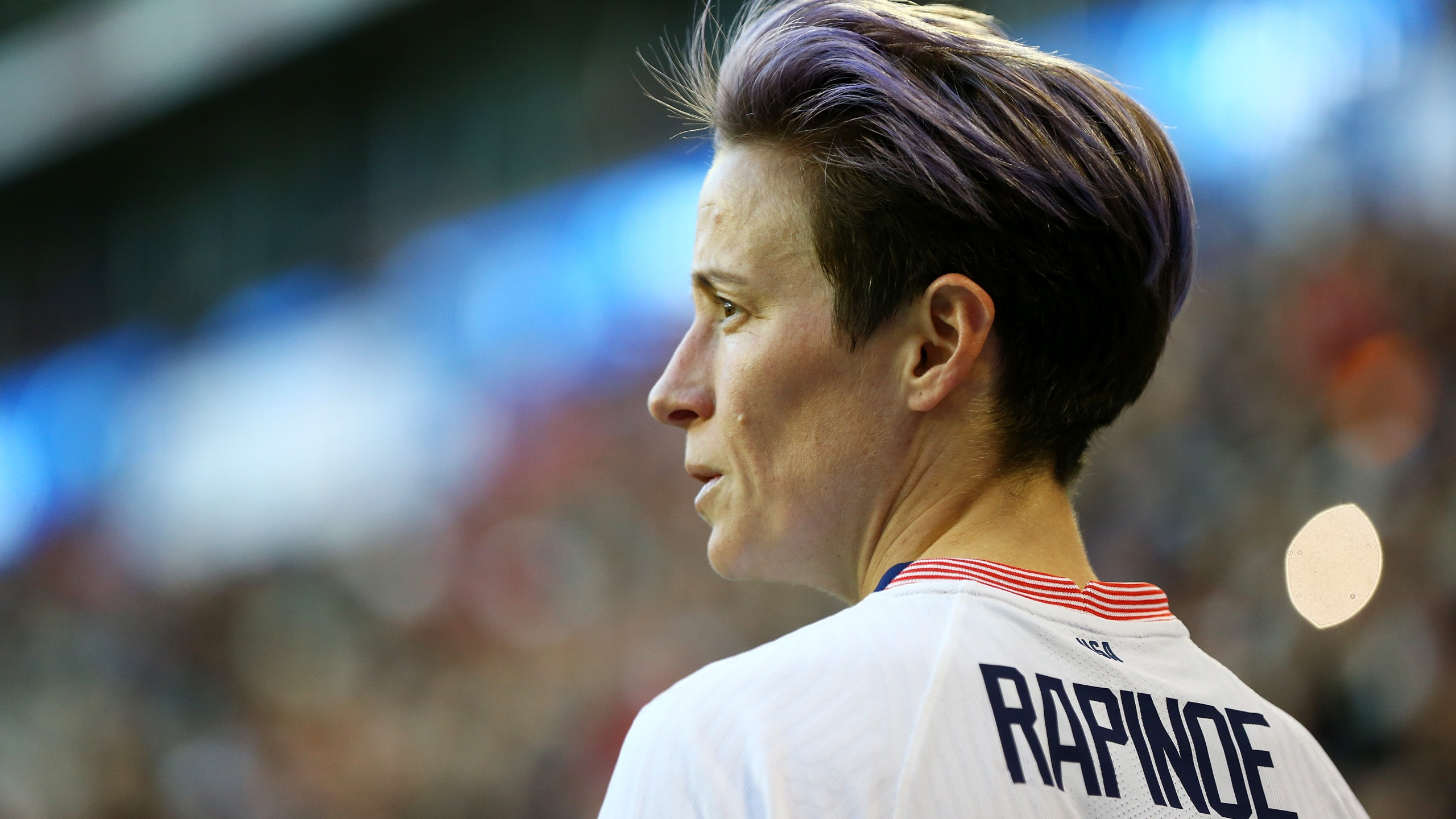 U.S. player Megan Rapinoe plays in a match against Spain at Red Bull Arena on March 8, 2020 in Harrison, New Jersey. (Mike Stobe/Getty Images)