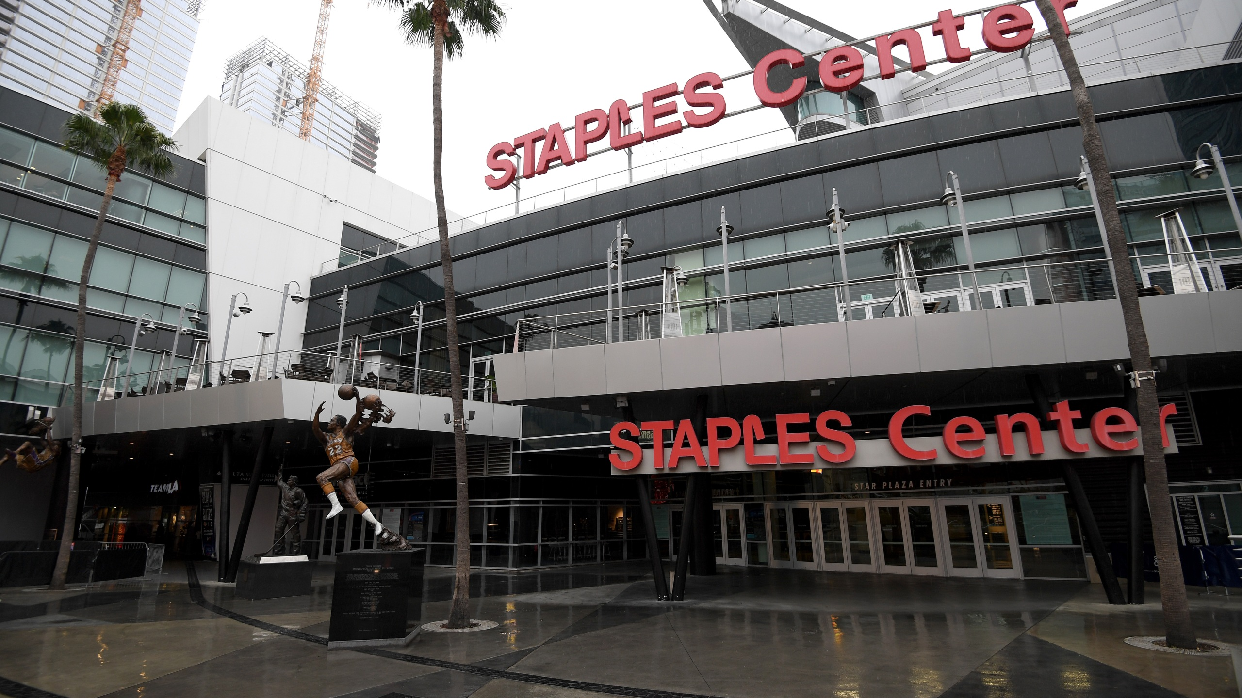 The scene was empty outside Staples Center on March 12, 2020 after both the NHL and NBA postponed their seasons due to coronavirus concerns. (Harry How/Getty Images)