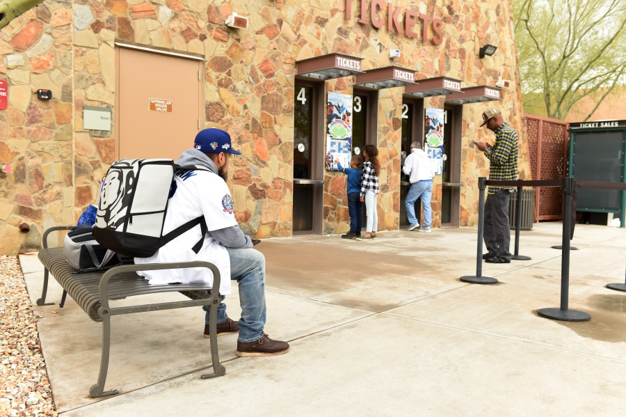 Los Angeles Dodgers fans wait in the ticket line to get refunds at Camelback Ranch after Major League Baseball suspends Spring Training on March 12, 2020 in Glendale, Arizona. (Norm Hall/Getty Images)
