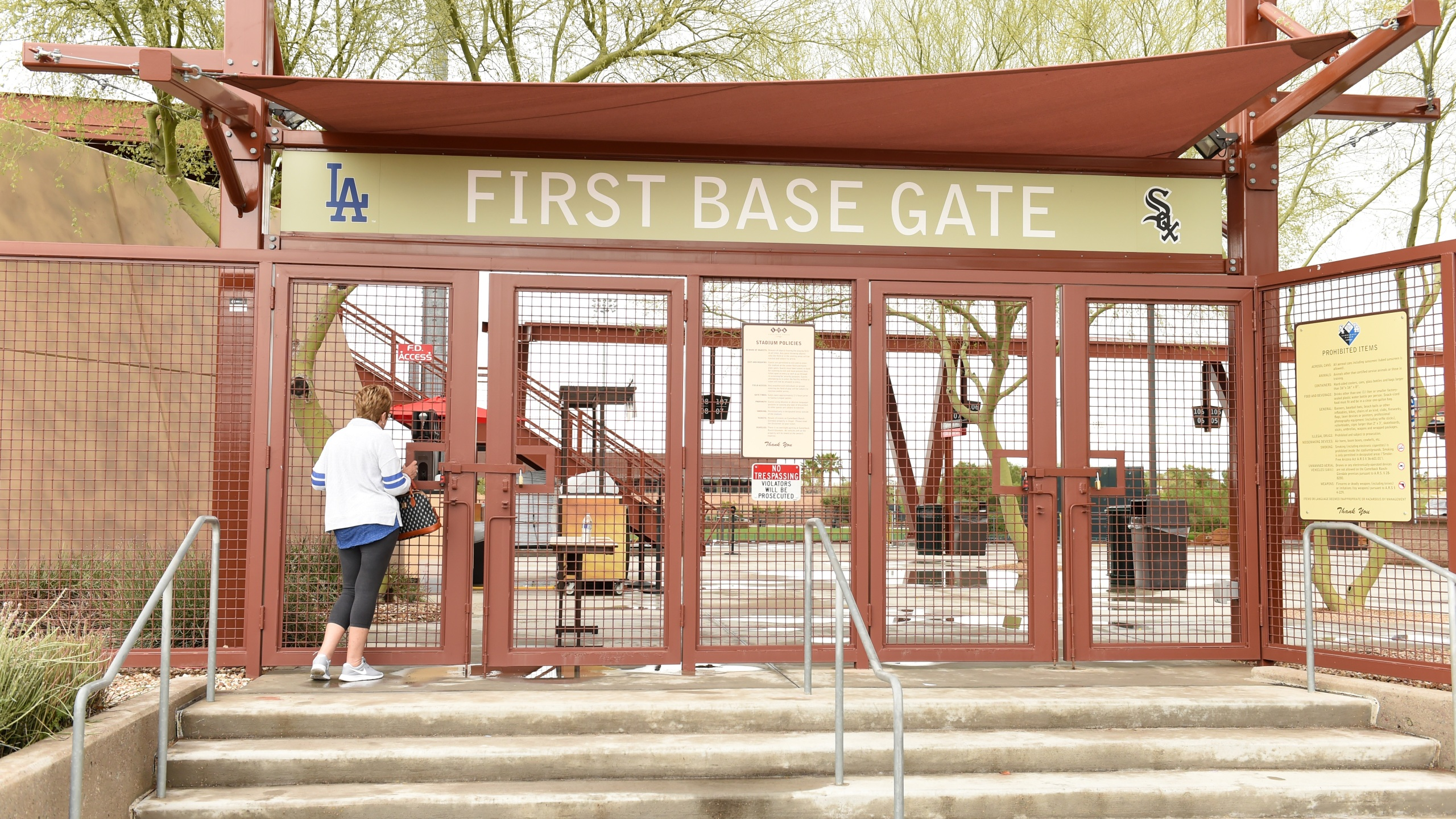 A Los Angeles Dodgers fan looks through the first base gate at Camelback Ranch after Major League Baseball suspended Spring Training on March 12, 2020 in Glendale, Arizona. MLB suspended spring training due to the ongoing threat of the coronavirus. (Norm Hall/Getty Images)