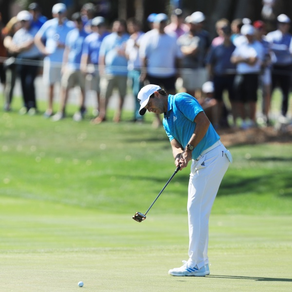 Sergio Garcia of Spain putts on the eighth green during the first round of The Players Championship in Ponte Vedra Beach, Florida, on March 12, 2020. (Credit: Matt Sullivan / Getty Images)