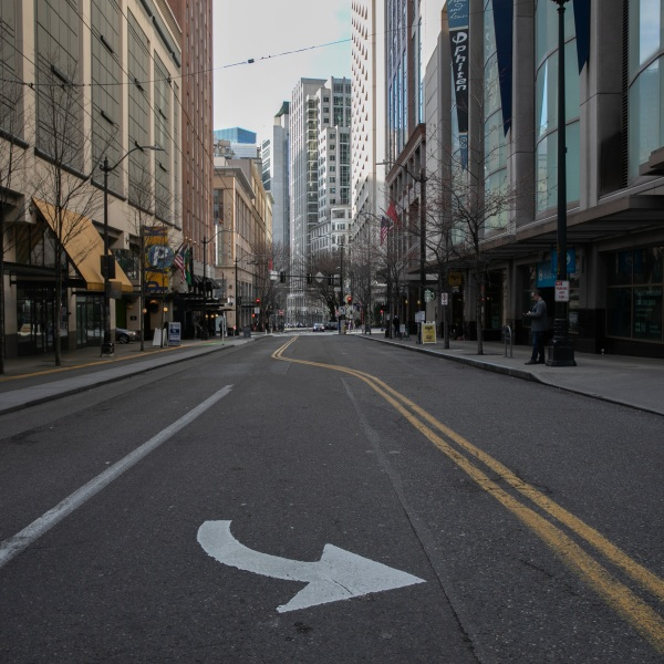 Normally busy downtown streets are virtually empty at rush hour due to coronavirus fears on March 12, 2020, in Seattle, Washington.(John Moore/Getty Images)