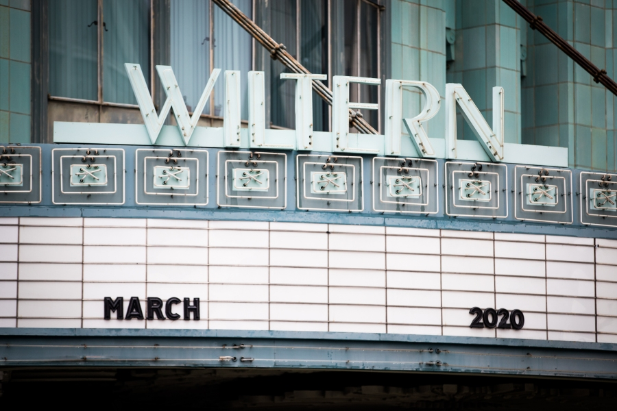 The Wiltern's empty marquee is seen on March 13, 2020 in Koreatown. (Rich Fury/Getty Images)