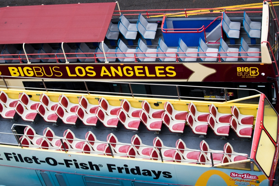 Empty tour buses are seen on March 13, 2020 in Hollywood. (Rich Fury/Getty Images)