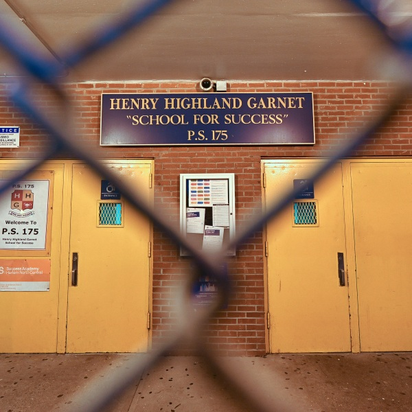 An exterior view of public school P.S. 175 Henry H Garnet in the Harlem neighborhood of Manhattan as the coronavirus continues to spread across the United States on March 14, 2020, in New York City. (Dia Dipasupil/Getty Images)