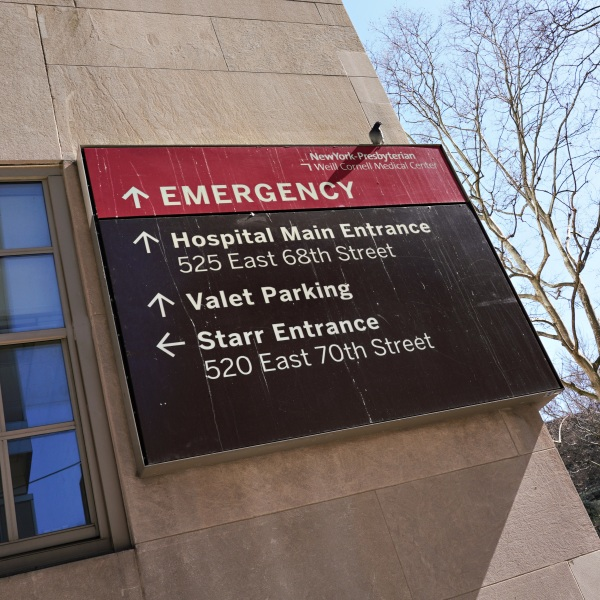 A view of NewYork–Presbyterian Hospital Emergency sign as the coronavirus continues to spread across the United States on March 15, 2020 in New York City. The World Health Organization declared coronavirus (COVID-19) a global pandemic on March 11th. (Cindy Ord/Getty Images)