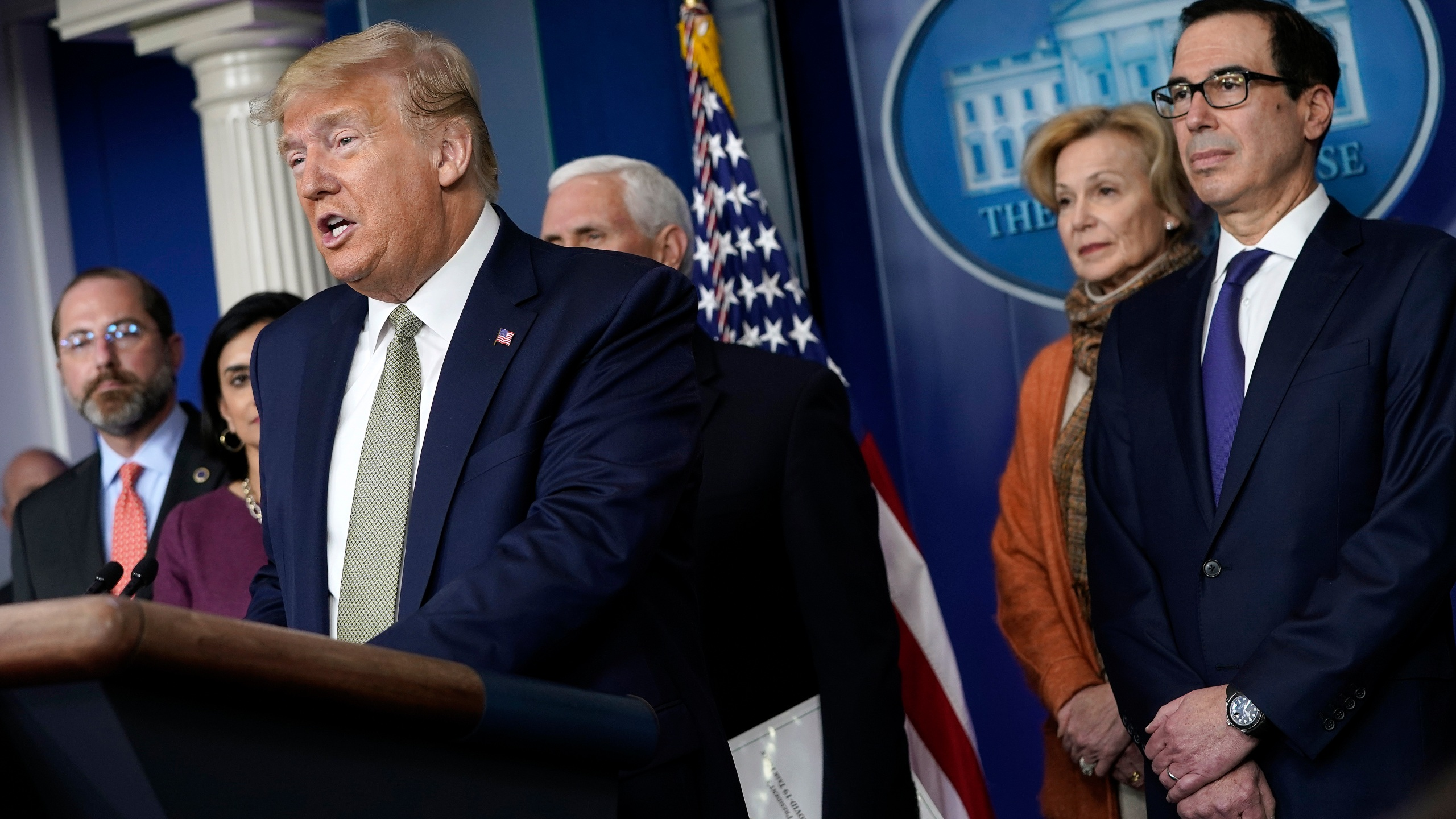 President Donald Trump, joined by members of the Coronavirus Task Force, speaks about the coronavirus in the press briefing room at the White House on March 17, 2020. (Drew Angerer/Getty Images)