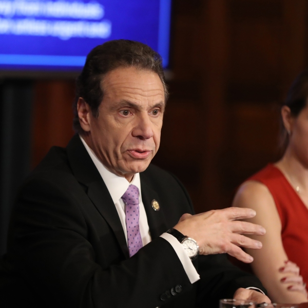 New York Gov. Andrew Cuomo speaks during his daily news conference with Secretary to the Governor Melissa DeRosa on March 20, 2020, in New York City. Cuomo ordered nonessential businesses to keep 100% of their workforce at home in an effort to combat the spread of the COVID-19 pandemic. (Bennett Raglin/Getty Images)