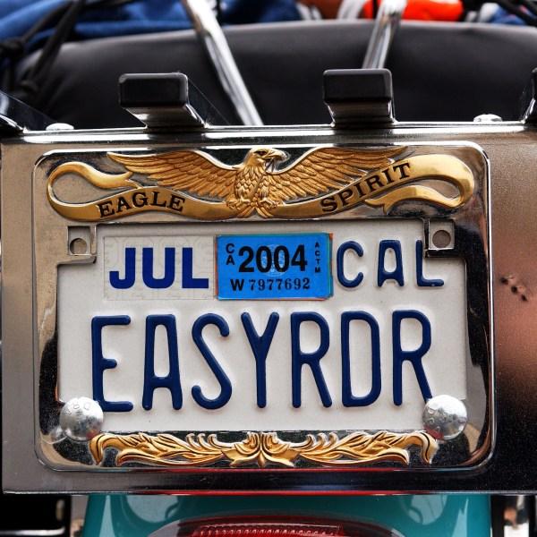 A vanity license plate sits on a Harley-Davidson motorcycle in Glendale on Nov. 9, 2003. (Credit: Amanda Edwards / Getty Images)