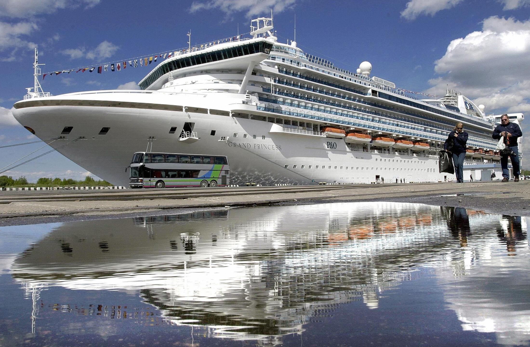 """The """"Grand Princess"""" is seen docked in St Petersburg port on May 24, 2004. (STRINGER/AFP via Getty Images)"""