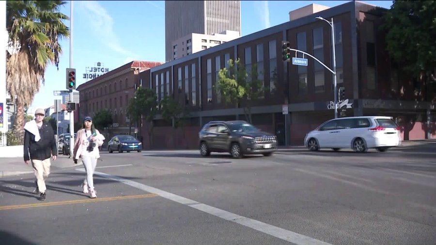 The intersection of Ardmore Avenue and 6th Street, pictured on March 8, 2020. (Credit: KTLA)