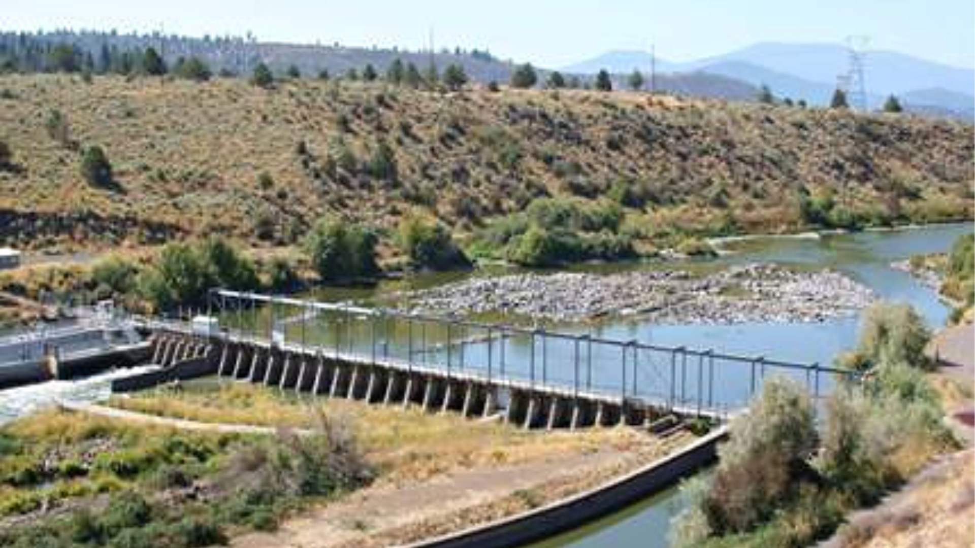 The Link River Dam, located some 250 river miles up the Klamath River from its mouth, is seen in an undated photo provided by U.S. Fish and Wildlife.