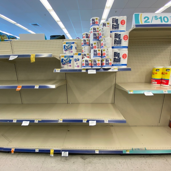empty toilet paper shelves coronavirus