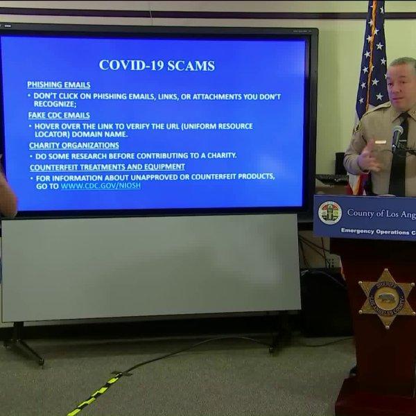 Los Angeles County Sheriff Alex Villaunueva provides an update on the coronavirus outbreak on March 26, 2020.