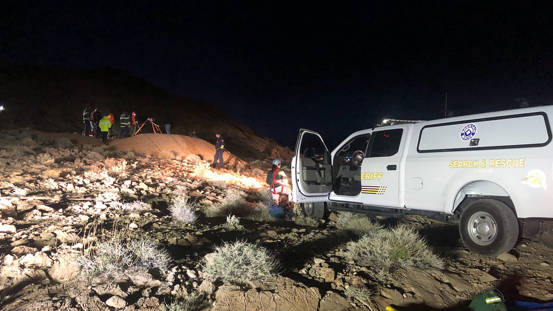 Rescuers freed a man who had fallen down a mineshaft in Death Valley on March 21, 2020. (Credit: San Bernardino County Sheriff's Department)