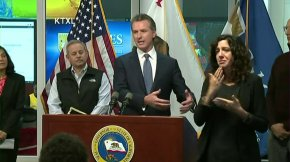 California Gov. Gavin Newsom holds a conference on the COVID-19 conference on March 15, 2020. (Credit: KTXL)