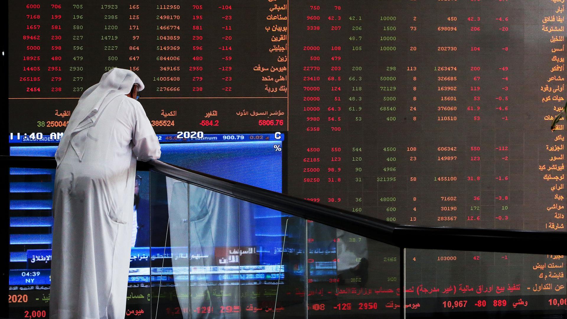 A Kuwaiti trader checks stock prices at Boursa Kuwait in Kuwait City, on March 8, 2020. (Credit: Yasser-Asser Al-Zayyat/AFP/Getty Images)
