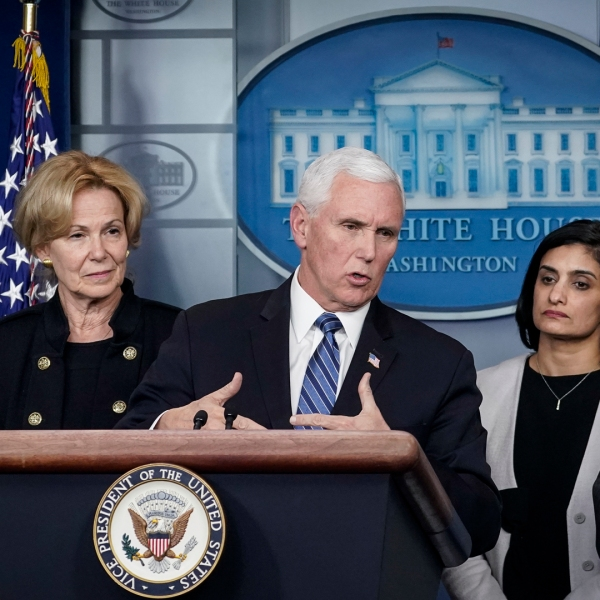 Vice President Mike Pence speaks during a briefing on the administration's coronavirus response in the press briefing room of the White House on March 2, 2020 in Washington, DC. (Credit: Drew Angerer/Getty Images)