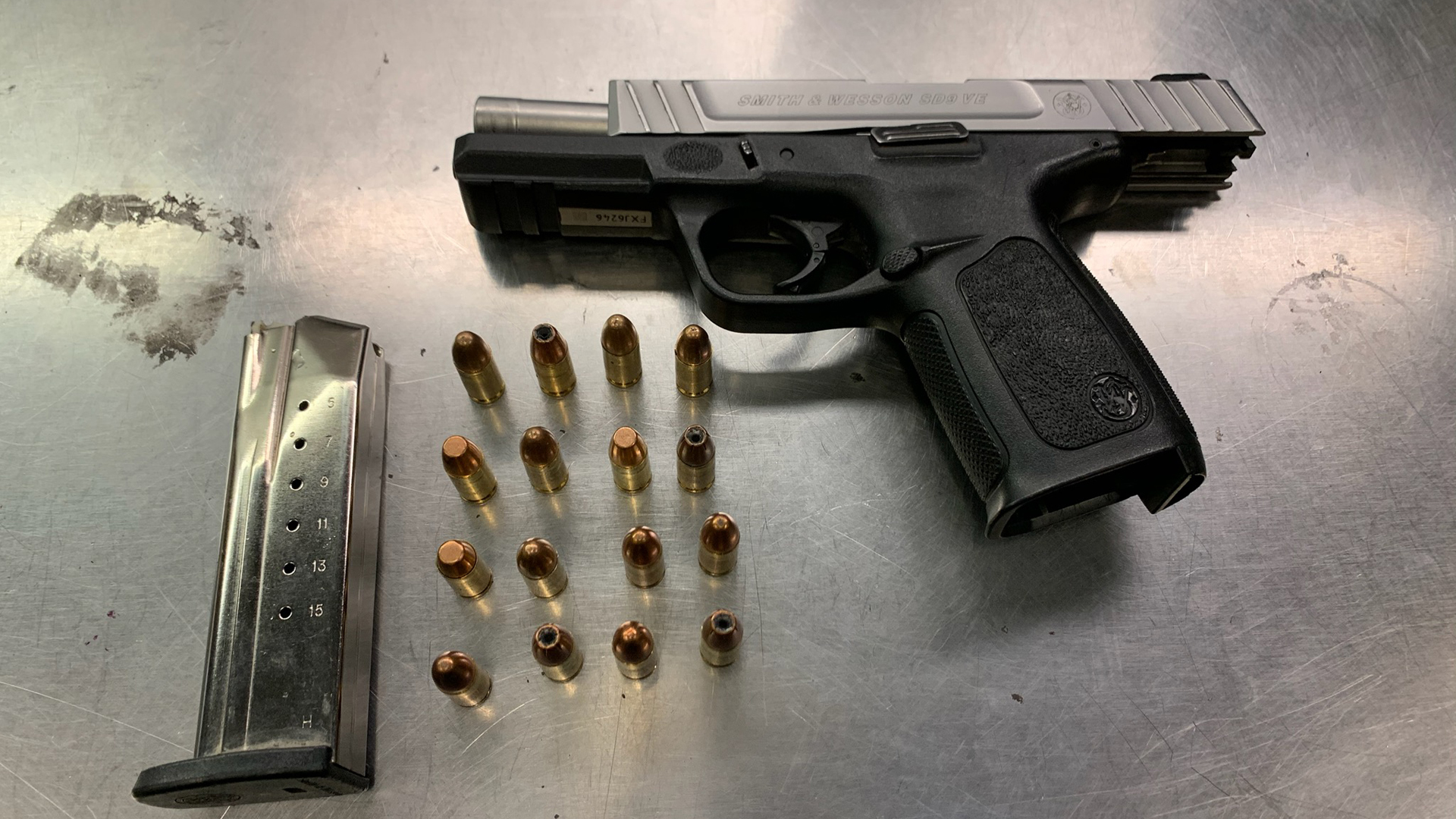 Police seized a stolen, loaded handgun from a documented gang member and convicted murderer during a traffic stop in Pomona on Feb. 29, 2020. (Credit: Pomona Police Department)