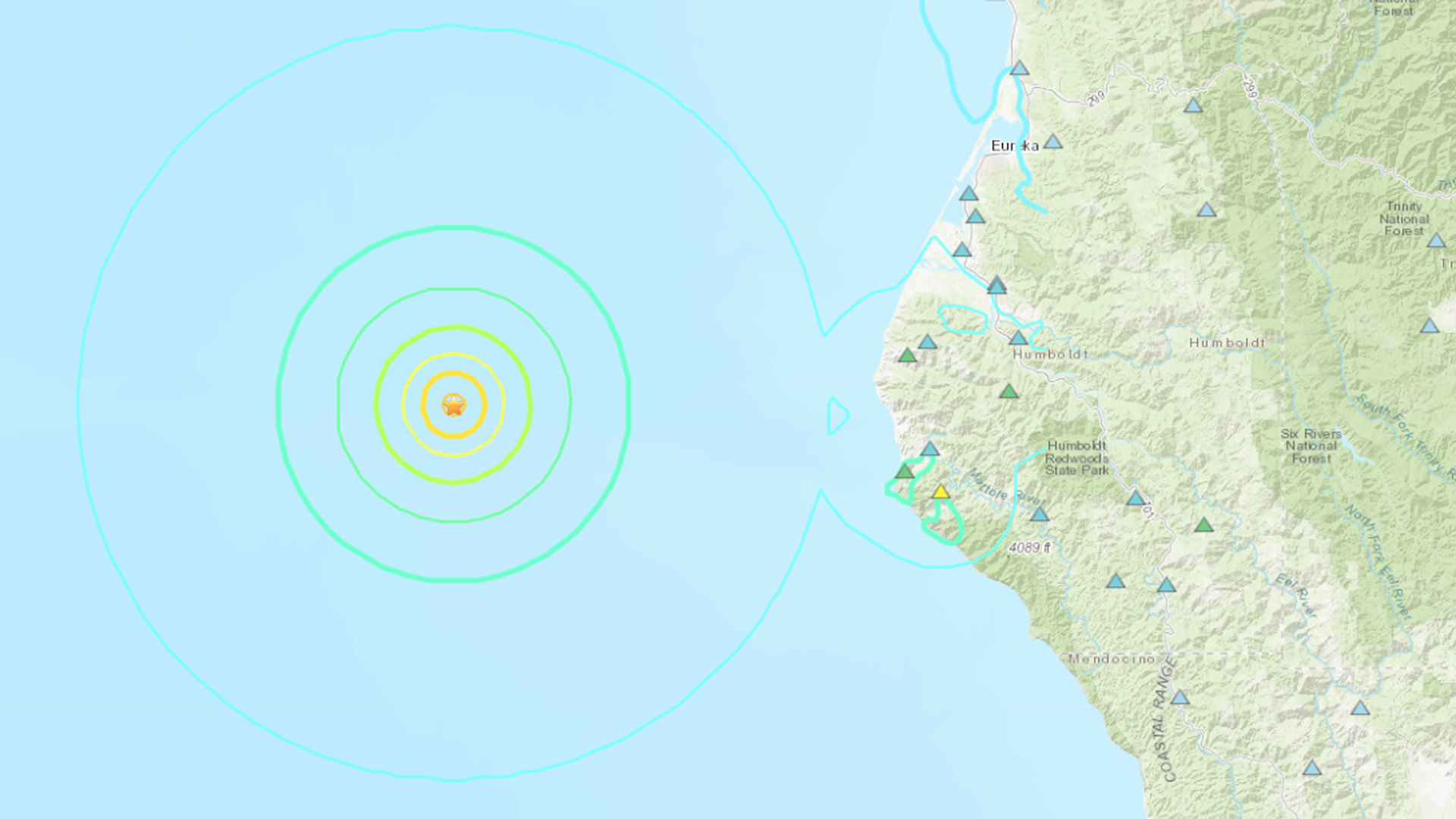 An earthquake with a preliminary magnitude of 5.8 rattled the Northern California coast on March 8, 2020. (Credit: United States Geological Survey)