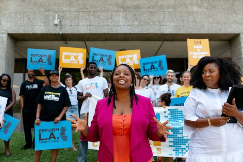 Activists Patrisse Cullors and Jasmyne Cannick lead a rally on the day the Reform L.A. Jails committee turned in nearly 250,000 signatures to get Measure R on the March 3, 2020 California primary ballot. (Reform L.A. Jails via Los Angeles Times)