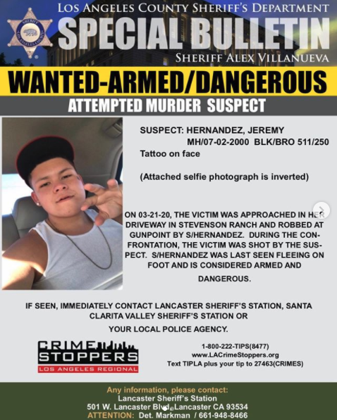 Los Angeles County Sheriff's Department wanted flier, issued March 22, 2020.
