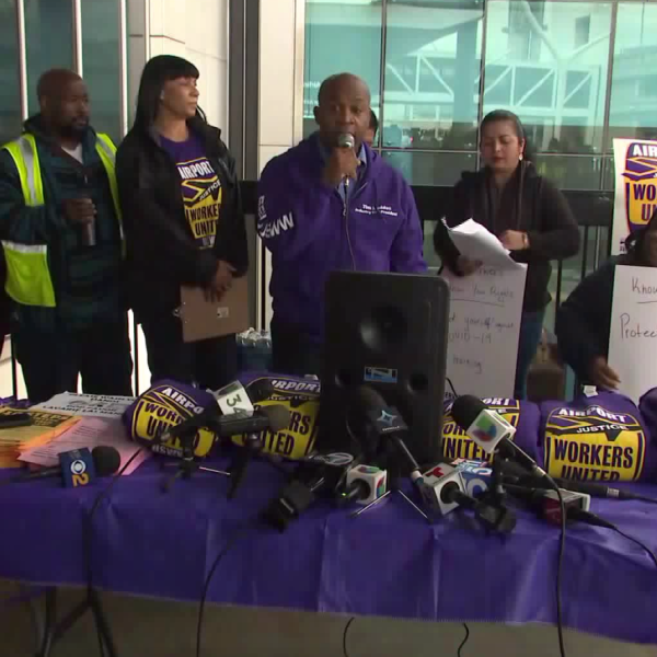 SEIU United Service Workers West members set up at the Los Angeles International Airport on March 10, 2020 demanding training and better equipment from contracting companies. (KTLA)