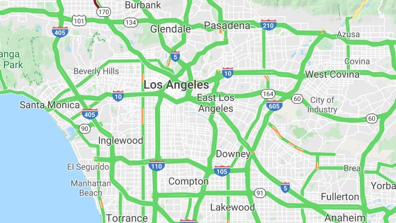 socal freeway traffic map With Empty Freeways A Changed Socal Sees Its Hallmark Traffic Evaporate Due To Coronavirus Ktla