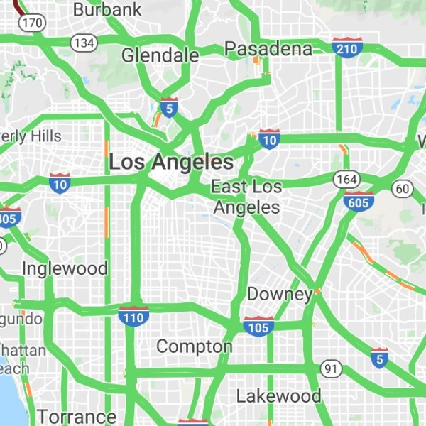 A Google traffic map is seen on the morning of March 18, 2020.