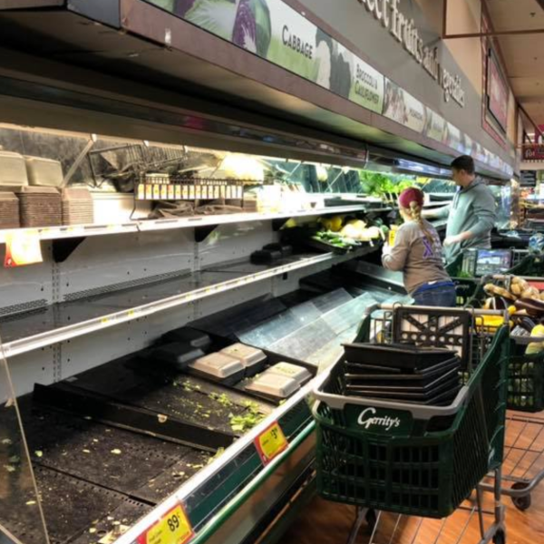 Gerrity's Supermarket shared this photo of employees tossing out thousands of dollars worth of food after a woman allegedly coughed on it at a branch in Hanover Township, Pennsylvania.