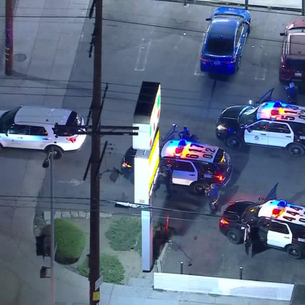 A driver in a stolen vehicle was in a standoff with police following a pursuit on March 4, 2020. (KTLA)