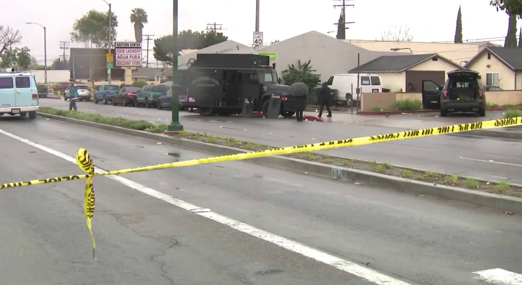 Authorities respond to a fatal police shooting on March 10, 2020. (KTLA)