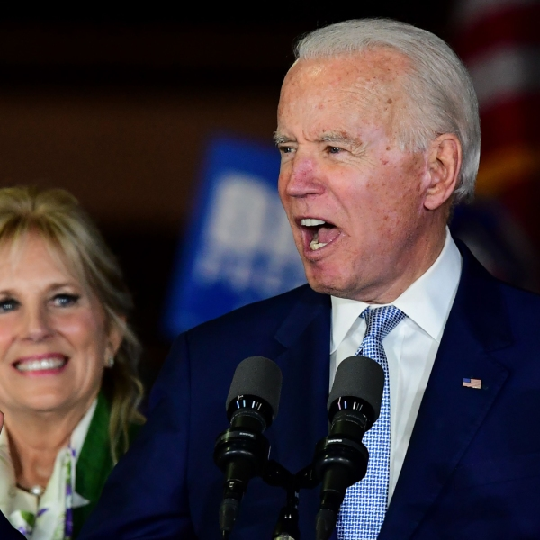 Democratic presidential hopeful former Vice President Joe Biden accompanied by his wife Jill Biden, speaks during a Super Tuesday event in Los Angeles on March 3, 2020. (FREDERIC J. BROWN/AFP via Getty Images)