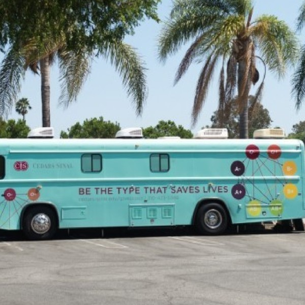 A blood mobile is seen in an image provided by Cedars-Sinai Medical Center.