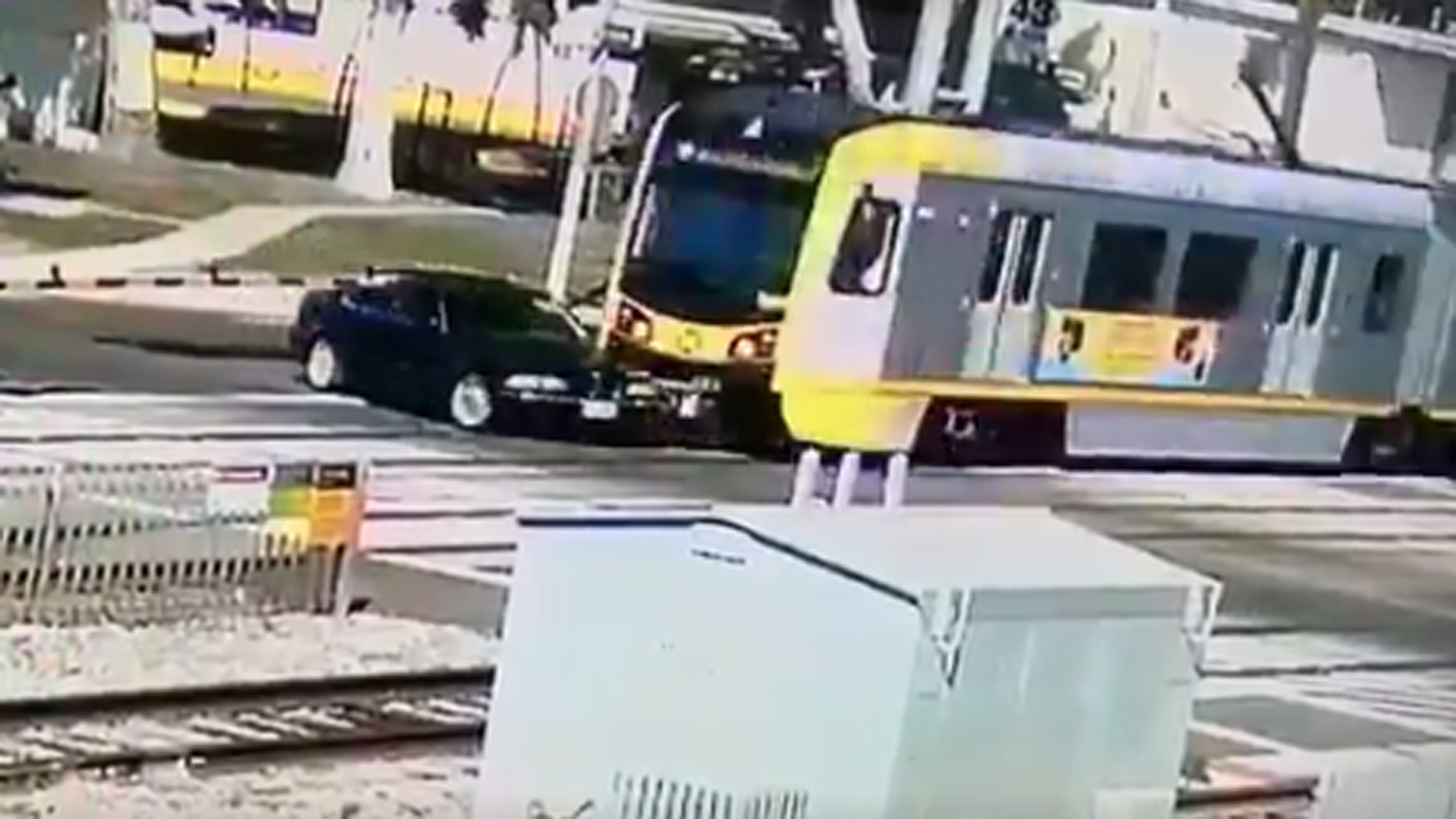 LAPD officials shared video of a Blue Line train crashing into a car in Long Beach on March 3, 2020.