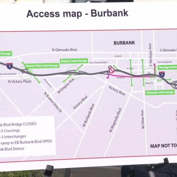 A Caltrans map displayed at a news conference announcing the 5 Freeway closure in Burbank on March 5, 2020. (KTLA)