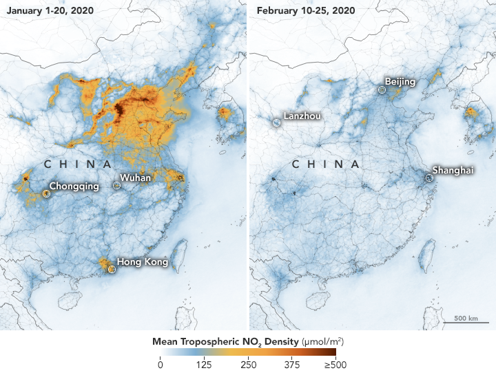 Graphics released by NASA show significant decreases in nitrogen dioxide over China.