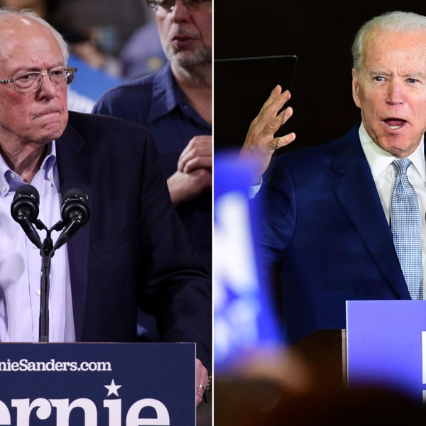 Democratic presidential candidate Sen. Bernie Sanders, left, addresses supporters at his Super Tuesday night event in Essex Junction, Vermont, on March 3, 2020. At right, former Vice President Joe Biden addresses a Super Tuesday event in Los Angeles on March 3, 2020. (Alex Wong /Frederic J. Brown / Getty Images)