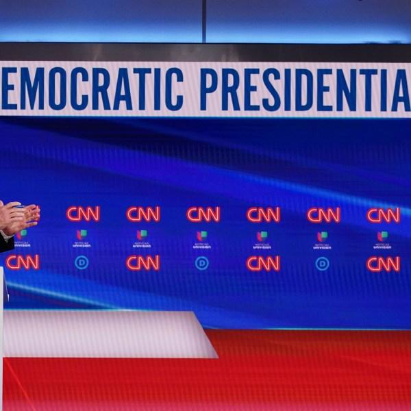 Democratic presidential hopefuls former US vice president Joe Biden and Senator Bernie Sanders take part in the 11th Democratic Party 2020 presidential debate in a CNN Washington Bureau studio in Washington, DC on March 15, 2020. (Mandel Ngan/AFP/Getty Images)