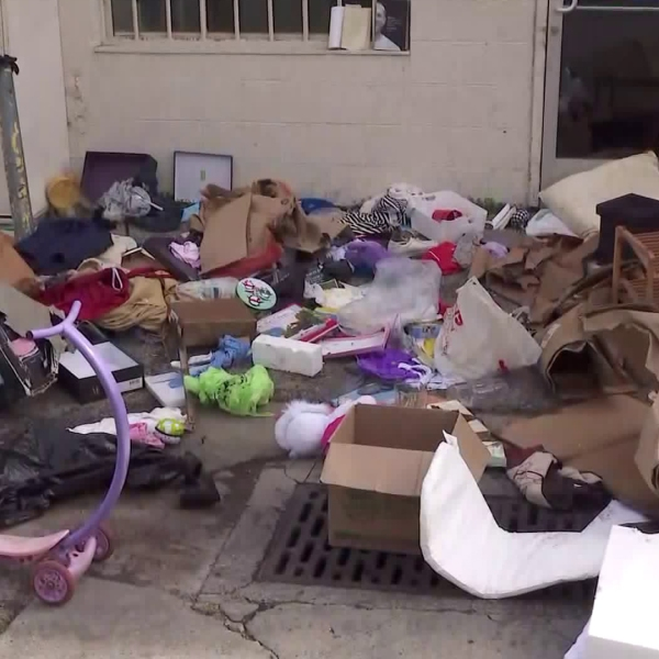 Donations pile up outside a Goodwill donation center in Westchester on March 24, 2020. (KTLA)