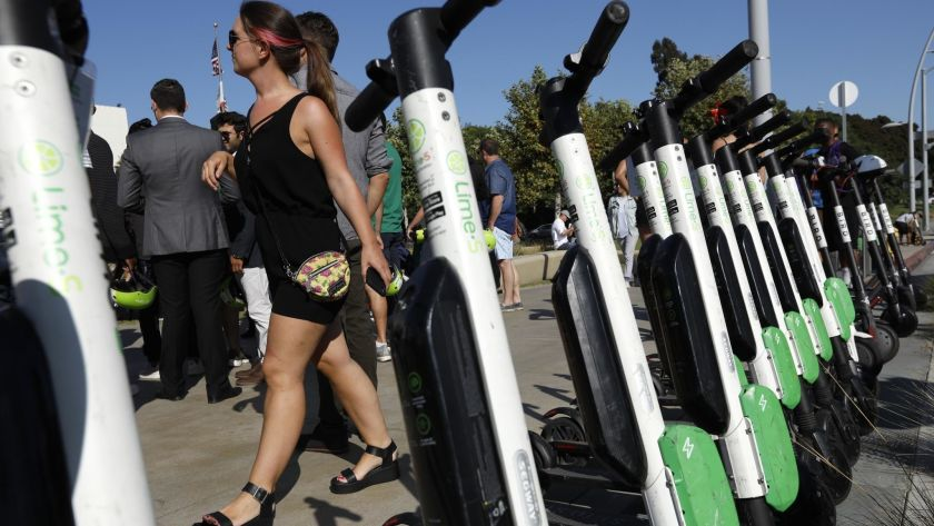 Lime electric scooters are docked in Santa Monica in this undated photo. (Credit: Genaro Molina / Los Angeles Times)