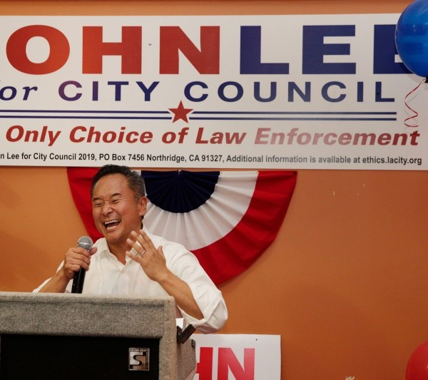 Los Angeles City Councilman John Lee speaks to supporters after winning a special election on Aug. 14, 2019. (Liz Moughon / Los Angeles Times)