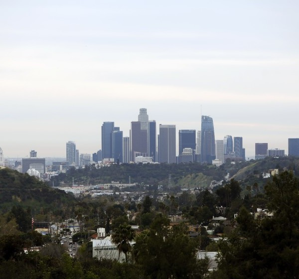 Downtown Los Angeles is seen from Pasadena on Feb. 27, 2020. (Dania Maxwell/Los Angeles Times)
