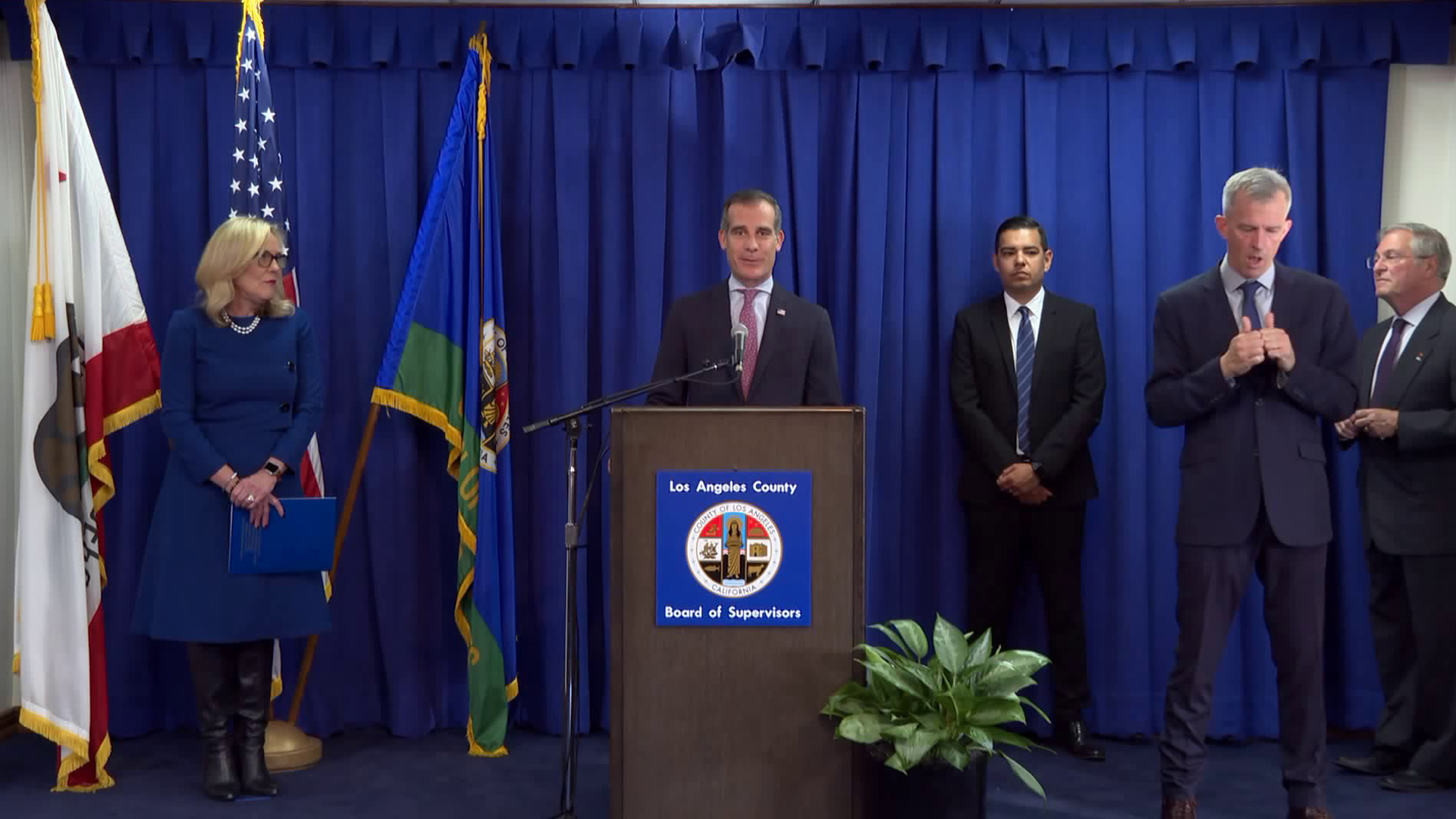 L.A. Mayor Eric Garcetti speaks during a news conference on March 19, 2020. (KTLA)