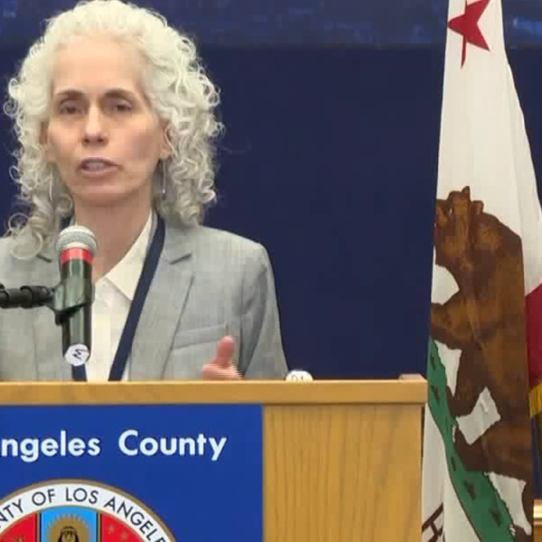 Dr. Barbara Ferrer reports Los Angeles County's second coronavirus-related death on March 19, 2020. (KTLA)