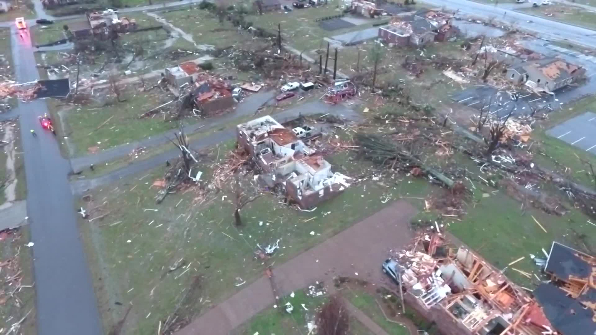 Aerial footage shows home damage in Tennessee's Mt. Juliet area on March 3, 2020. (WSMV via CNN Wire)