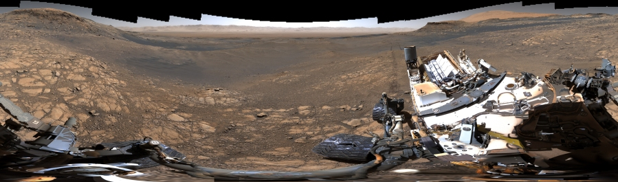 This smaller, 650-million-pixel panorama shows the rover itself. (JPL-Caltech/MSSS/NASA via CNN Wire)