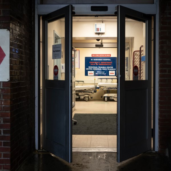 Doors lead into the Emergency Department at St. Barnabas Hospital on March 23, 2020 in the Bronx borough of New York City. (Misha Friedman/Getty Images)