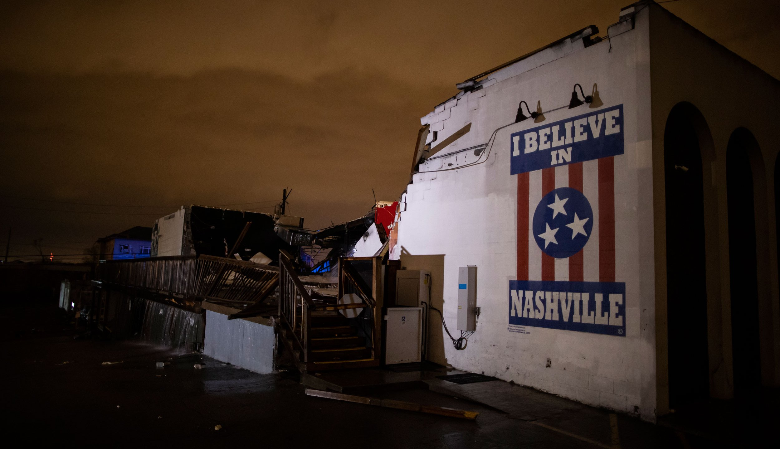 General view of a mural on heavily damaged The Basement East in the East Nashville neighborhood on March 3, 2020, in Nashville, Tennessee. (Brett Carlsen/Getty Images)