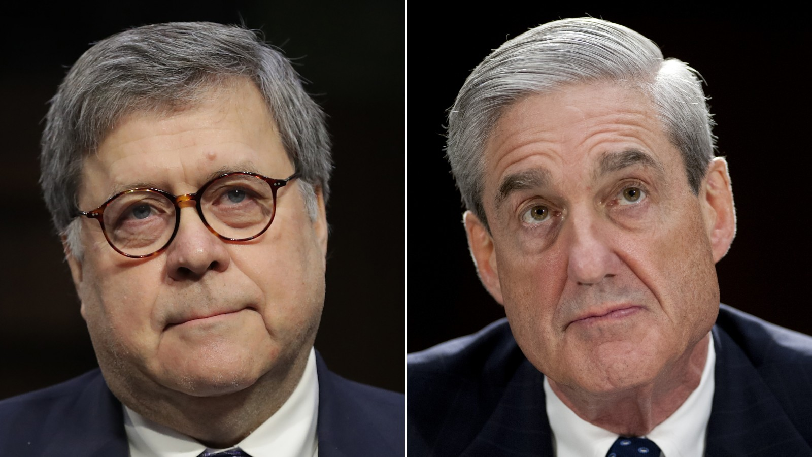 Attorney General William Barr and former Special Counsel Robert Mueller are shown in file images. (AFP & Getty Images)